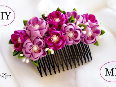 ГРЕБЕНЬ КАНЗАШИ, МК. DIY Kanzashi Hair Comb