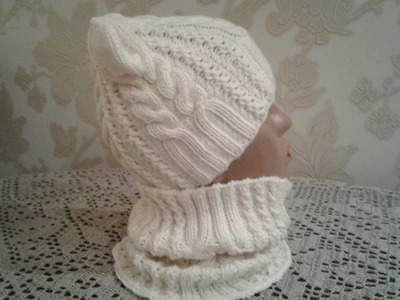 Шапка спицами. КотоШапка. Часть 1.  . Knitting for kids. How to knit a hat