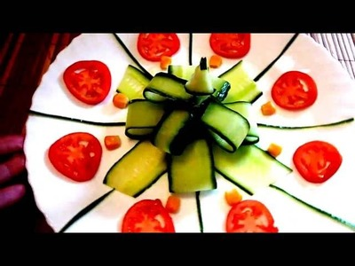 ART IN CUCUMBER. DECORATION OF CUCUMBER. VEGATABLE CARVING. HOW TO MAKE CUCUMBER DECORATION