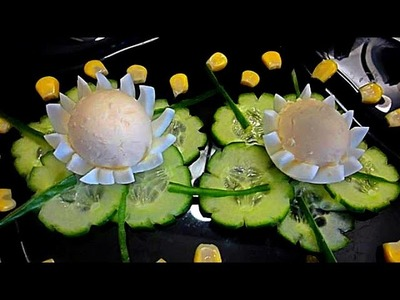 HOW TO MAKE   EGGS FLOWER - CARVING EGGS & EGGS GARNISH. EGGS ART. EGGS DECORATION