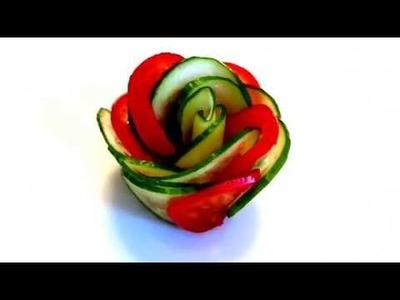 HOW TO MAKE ROSE CUCUMBER AND TOMATO! VEGETABLES CARVING! ART IN CUCUMBER ! ART IN TOMATO