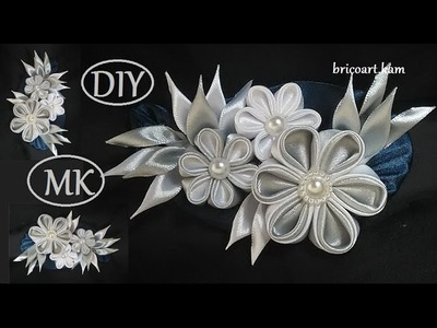 DIY.Kanzashi Brooch tutoriel.Ribbon flower.Brooch.MK.канзаши: bricoart.kam