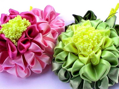 Цветы Канзаши Георгин МК. Kanzashi Flowers Tutorial. DIY Ribbon Flower Tutorial