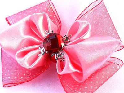 Канзаши Бантик из Ленты.  DIY Kanzashi for Girls. How to Make a Hair Bow out of Ribbon