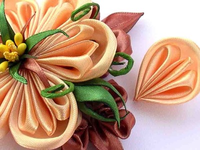 Как Сделать Лепестки Канзаши из Ленты 2 5 см. How to Make Kanzashi Petals Flowers