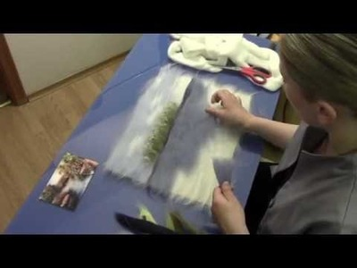 "ЖИВОПИСЬ  ШЕРСТЬЮ "" БЕРЕГ"". FELTING of  PICTURE.  HOW TO MAKE A PICTURE of  WOOL"
