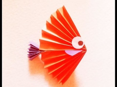 Easy christmas crafts for kids. A nice fish from paper.  КАК сделать Рыбу из бумаги.