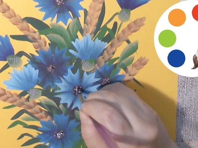 How to paint a Flower, Cornflowers, cómo dibujar flores azules, irishkalia