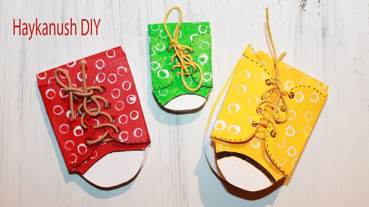 DIY MINI NOTEBOOKS Sneakers No Sew and Easy DIY - How to Make Cute Mini Notepads