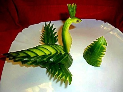 Птица из огурчика! Украшения из огурца! Decoration of Cucumber. Carving Cucumber