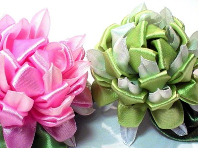 Цветок Канзаши, МК. How to Make Kanzashi Flowers. DIY Ribbon Flowers Tutorial, Tatiana Vasyliuk