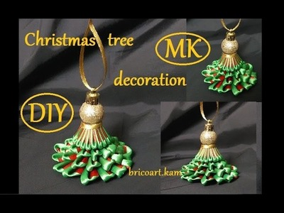 DIY.Christmas tree.Kanzashi tutorial.Christmas decoration.канзаши: bricoart.kam