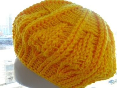 Рельефная шапочка- берет крючком 1 часть -Relief cap- takes Crochet