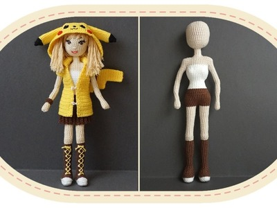 Девушка Пикачу крючком, часть 7 (Каркас). Crochet Pikachu girl, part 7 (Skeleton).
