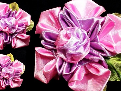 Flowers with ribbon,  Flower making tutorial, Kanzashi Tatiana Vasyliuk, Цветы из лент
