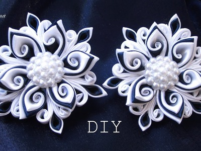 Резинки канзаши, МК. DIY Scrunchy with Kanzashi flowers
