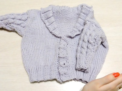 Детская кофточка (кардиган) спицами.Часть 2.Baby jacket knitting