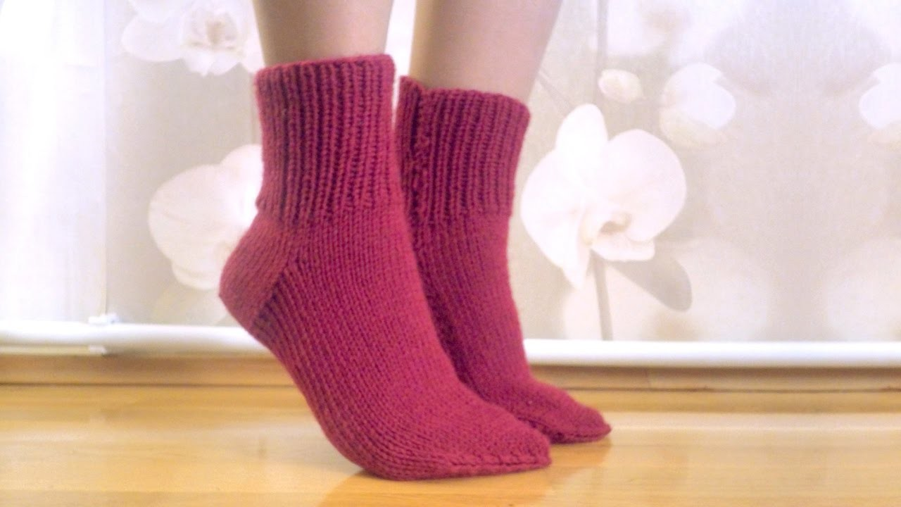 Knitting easy socks on two needles (tutorial for BEGINNER) Носки на 2 спицах
