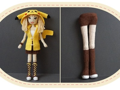 Девушка Пикачу крючком, часть 3 (Тело, часть 1). Crochet Pikachu girl, part 3 (body, part 1).