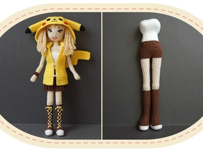 Девушка Пикачу крючком, часть 4 (Тело, часть 2). Crochet Pikachu girl, part 4 (body, part 2).