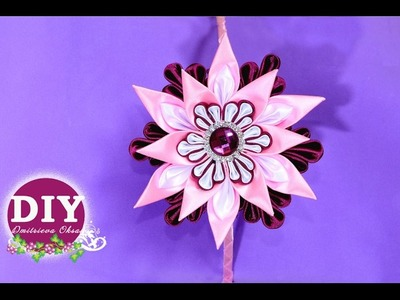 DIY.Kanzashi flower tutorial. Headrim Kanzashi.Satin Ribbon Flower.