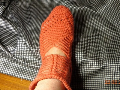 Следочки окончание.Zapatillas de ganchillo.Crochet slippers.Häkeln Pantoffeln