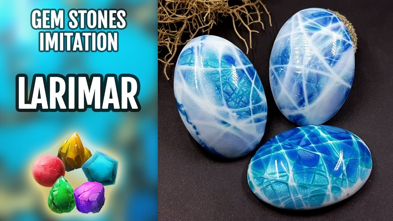 DIY. Larimar Gemstone. Polymer Clay Realistic Natural Gemstone imitation technique. VIDEO Tutorial!