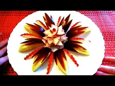 HOW TO CUT APPLE BEAUTIFUL - ART IN APPLE FRUIT CARVING & HOW TO MAKE APPLE GARNISH DESIGN CUTTING