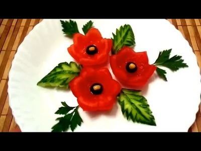 3 LIFE HACKS HOW TO MAKE TOMATO CUCUMBER FLOWER DESIGN & HOW TO CUT CUCUMBER TOMATO GARNISH  CARVING