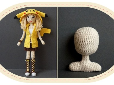 Девушка Пикачу крючком, часть 5 (Голова, плечи).  Crochet Pikachu girl, part 5 (head and shoulders).