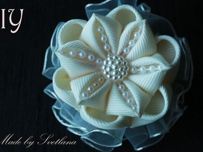 Цветок канзаши с рюшем на заколке Мастер класс DIY Flower kanzashi with rush on the barrette