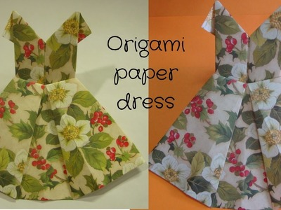 Paper crafts ideas for kids.How to make origami dress. como hacer vestidos de papel origami