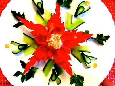 HOW TO MAKE PEPPER FLOWER CARVING - CUCUMBER DESIGN & VEGETABLE GARNISH - ART IN PEPPER