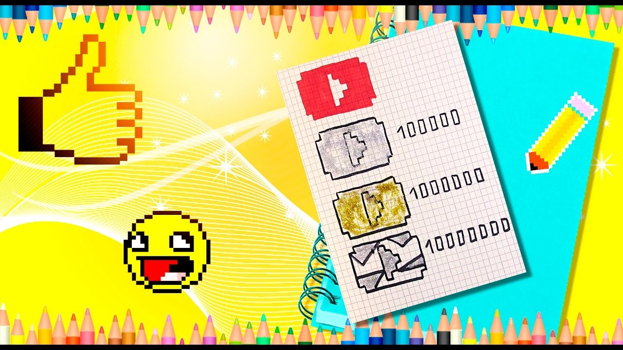 All youtube buttons pixel drawing! If you want a button JUST draw one for yourself or your friend