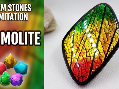 DIY How to make Realistic Ammolite Gemstone. Stone imitation technique. VIDEO Tutorial!