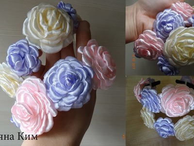 Плоские Весенние Цветы.Flat Spring Flowers. Flowers from tape 1.5 and 2.5 cm